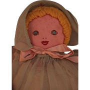 "All cloth baby doll 11"" tall, hand made, 1930-1940's, very good condition."