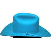 "Vintage Bailey western boy / girl hat size 7-1/8 roper long oval style XX double fur blend turquoise 4"" longhorn in excellent condition with box."