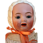 "Morimura Brothers bisque character baby doll 18"" tall, won 2nd place ribbon at UFDC show, made in Japan"