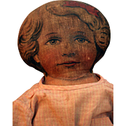 "Art Fabric Mills lithograph cloth girl doll 17"" tall from 1900 in good condition."