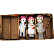 "All  bisque immobiles dolls 3"" tall made in Japan with original box from circa 1930's"