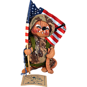 "Analee Doll military mouse Desert Storm doll 6"" tall holding American flag code # 9931."