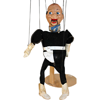 """Cowboy marionette Peter Puppet, compo, circa 1950, 13"""" tall."""