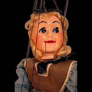 """Hazelle's marionette Alice 306 in hard plastic circa 1950's 13"""" tall Original Box"""