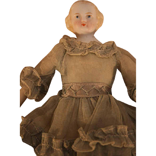 """China head vintage 6"""" doll by Emma Clear with cloth body, beautiful clothing, circa 1940"""