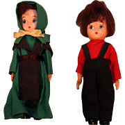 "Pair Hard plastic 5"" tall pair of Amish dolls in original labeled boxes in good condition"