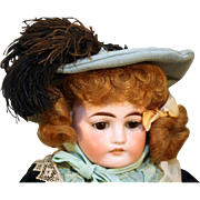"Antique German bisque head doll by Ernst Heubach 18"" tall from 1888-1911 with antique dress."
