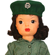 """Terri Lee 16"""" tall hard plastic doll marked Terri Lee Pat. Pending in tagged Girl Scout uniform from 1946."""