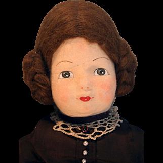 "Molded felt face artist doll cloth body 22"" Suzanne by Garida West 1982 very good quality"