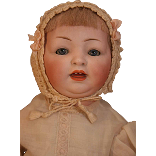 """Antique German bisque character face baby/toddler doll 15"""" on 5 piece compo body.  No marks."""
