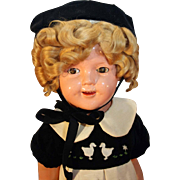 "Shirley Temple composition Flirty eye doll 25"" tall by Ideal  Curly Top in good condition."