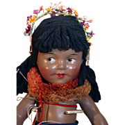 "Shirley Temple 13"" composition Hawaiian doll Marama from 1937 in very good condition."