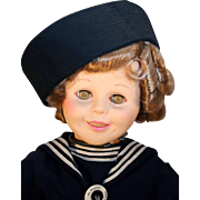 """Shirley Temple 30"""" tall vinyl doll by Dolls, Dreams and Love in Captain January sailor suit from 1984."""