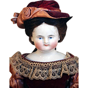 "Antique Beidemeier style 14"" tall German lady china head doll with bald head and human hair wig from 1850's."