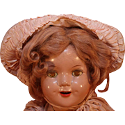 "Shirley Temple Little Colonel composition look-a-like doll in composition that is 20"" tall from mid 1930's."