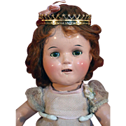 """Ideal Company composition doll Cinderella 13"""" tall from late 1930's in good condition."""