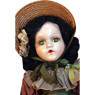 """Scarlett O'Hara 18"""" tall composition doll by Madame Alexander from 1937-1949 in good condition with tagged dress"""