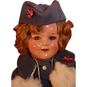 "Shirley Temple composition doll by Ideal 18"" tall with unusual Molly-es tagged velvet coat and hat from 1938."
