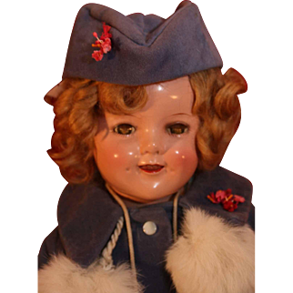 """Shirley Temple composition doll by Ideal 18"""" tall with unusual Molly-es tagged velvet coat and hat from 1938."""