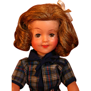 "Shirley Temple vinyl doll 12"" tall Circa 1950's by Ideal in good condition."