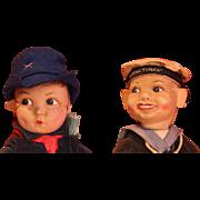 Vintage pair of Norah Wellings cloth dolls.