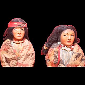 """Skookum Pair + Papoose Male 9 1/2"""" Female 8 1/2"""" Circa 1930's or 1940's"""