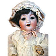 "Antique bisque baby/toddler doll 16"" tall by Kammer and Reinhardt mold # 126, wigged from 1909."