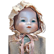 "German bisque head antique baby doll 18"" long by Armand Marseille mold 341 in good condition."