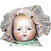 """German antique bisque head baby doll mold 341, Kiddiejoy or Our Pet 16"""" long."""