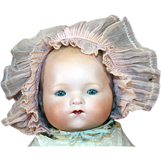 "German antique bisque head baby doll mold 341, Kiddiejoy or Our Pet 16"" long."