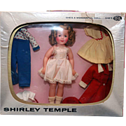 "Shirley Temple TV Wardrobe Package of 12"" Shirley Temple in vinyl with  television set box with carrying handle and outfits, all original and marked.  Designed by Ideal. - Red Tag Sale Item"