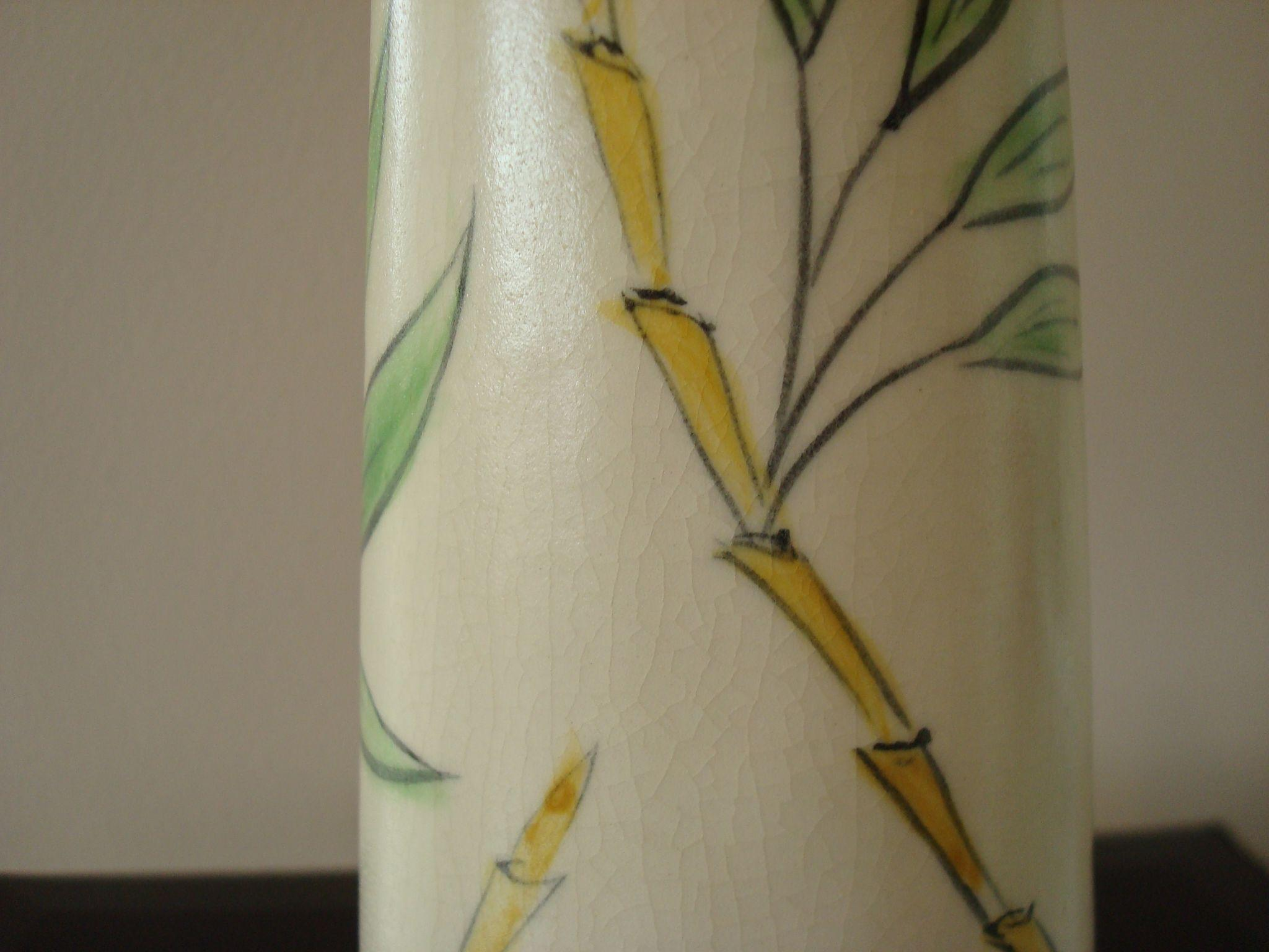 Vintage pottery pitcher with bamboo decoration from for Babou decoration