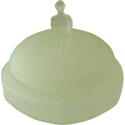 Art Deco Frosted Green Glass Powder Dish with Bather