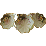 Set of 6 Hand Painted Nippon Porcelain Nut Dishes Made by Noritake c 1911 or 1912