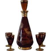 Amber to Clear Cut Glass Decanter Set with Gold Gilding