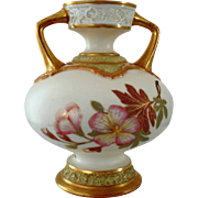 Circa 1887 Royal Worcester Porcelain Two Handled Vase