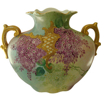 Vienna Austrian Pillow Vase Featuring Two Different Hand Painted Floral Designs