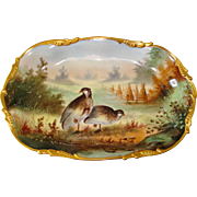 A. Heidrich Signed E.W. Donath Studio Hand Painted Wildlife Platter