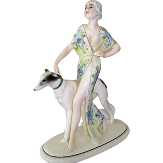 Beauty w/ Borzoi Ca 1920-1950's mfg. Hertwig & Co.
