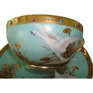 Nippon Teacup and Saucer - Swan Motif