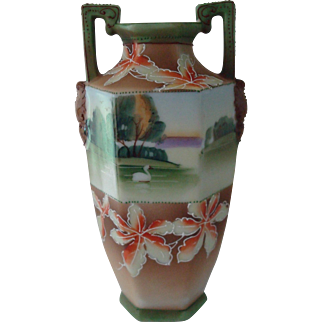 Nippon Vase w/ Maple Leaf Motif
