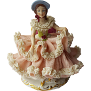Dresden Porcelain Doll Figurine On A Chair