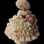 Dresden Porcelain Doll Figurine With Flower Basket