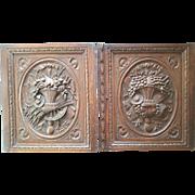 Antique hand carved cabinet door panel