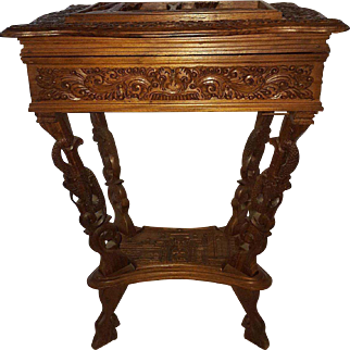19th Century Oak Wooden Sewing Table