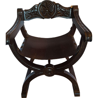 19th Century Oak Wooden Knights Chair with Leather Seat