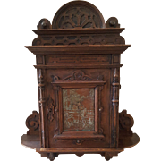 17th Century Oak Wood Bible Cabinet with Copper Studded Plate