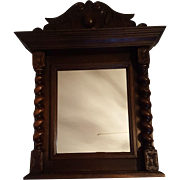 French Carved Oak Wood Antique Mirror