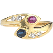 Here's to the red, white and blue. 18k/Sapphire Diamond Ruby Ring