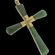 14k Nephrite Jade Cross